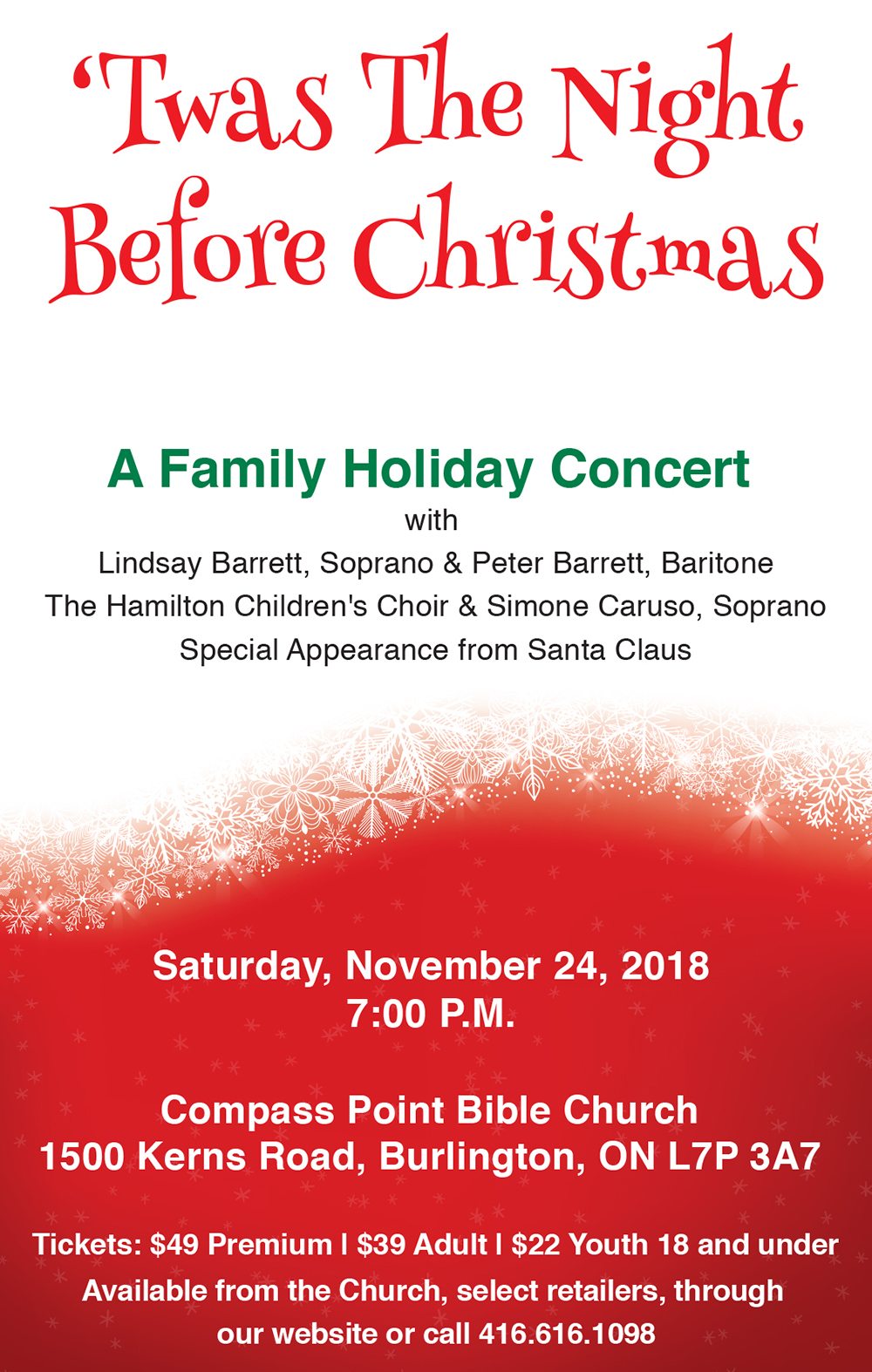 'Twas the Night Before Christmas family holiday concert poster